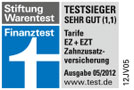 Testsiegel FinanzTest: Hanse-Merkur Krankenversicherung